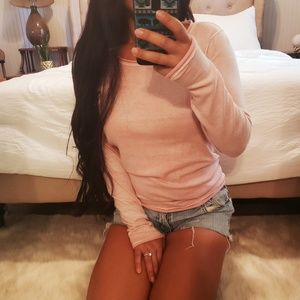 Baby Pink Rolled Hem Sweatshirt Sun washed XS